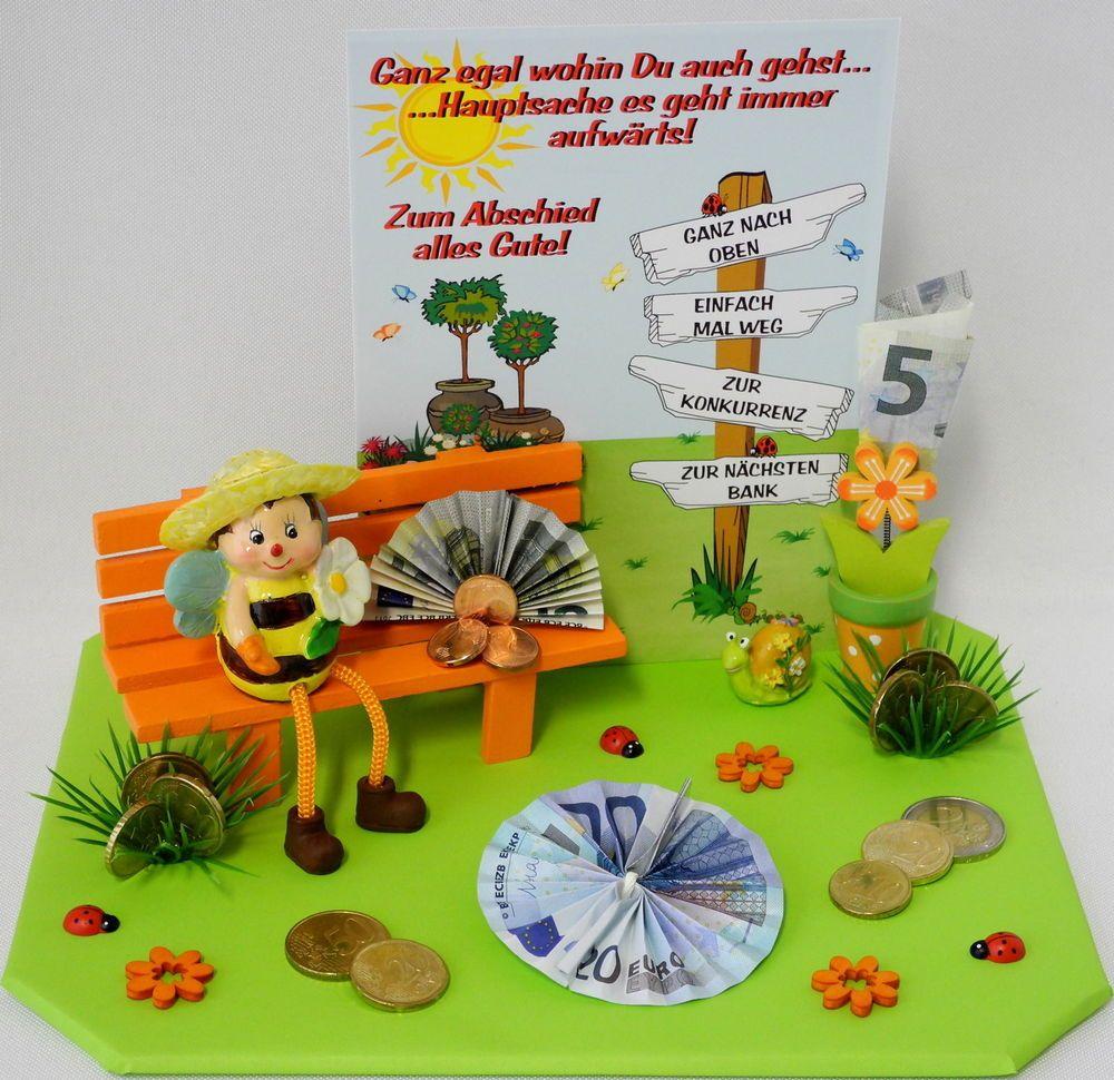 Geldgeschenk Zum Abschied Ruhestand Biene Kafer Bank Blumentopf