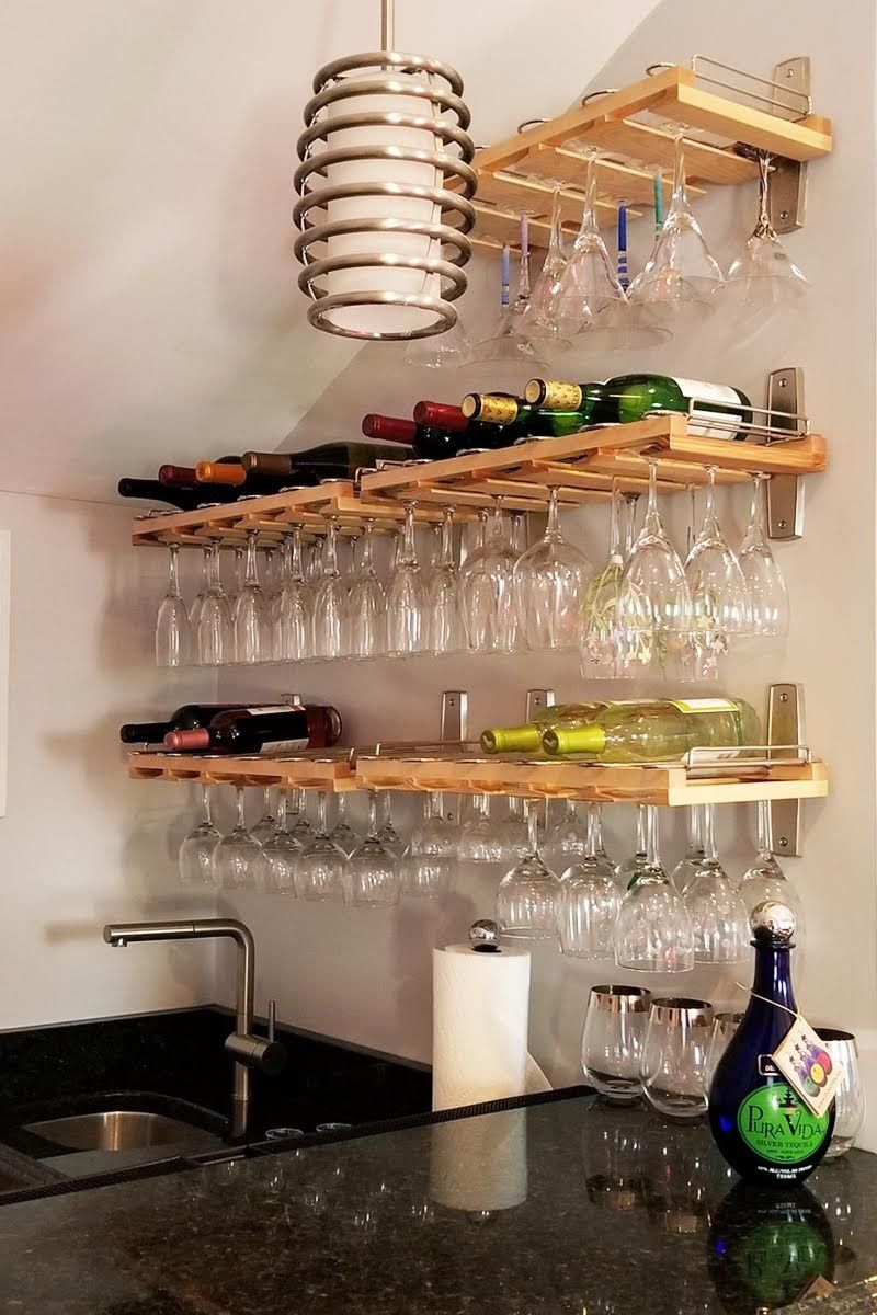 Beautifully Installed Stemware Shelving By One Of Our Customers For His Home Bar Glass Shelves Decor Glass Shelves Kitchen Hanging Wine Glass Rack