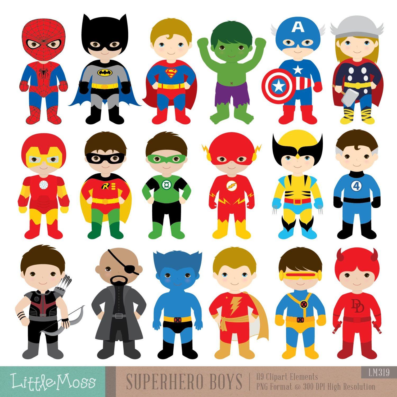 18 Boys Superhero Costumes Clipart Superheroes Clipart Superhero