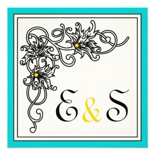 Flourish vine black, aqua yellow wedding custom invites