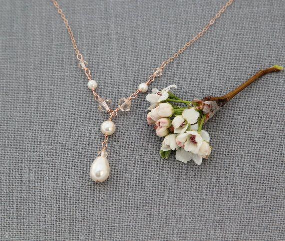 Brautschmuck swarovski kristallen  Perlenkette Rosé Gold Braut Halskette Brautschmuck von ...