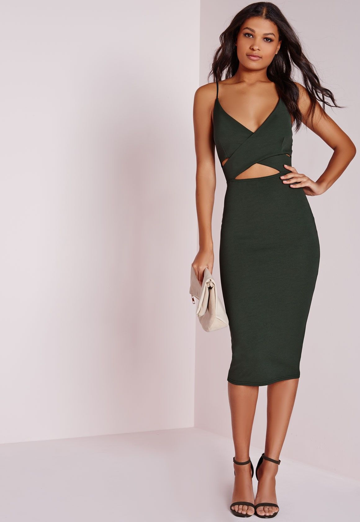 Closet triangle cut out back dress - Missguided Scuba Strappy Cut Out Midi Dress Khaki