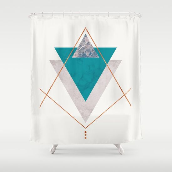 Teal Copper And Blush Geometric Shower Curtain By Xiari On