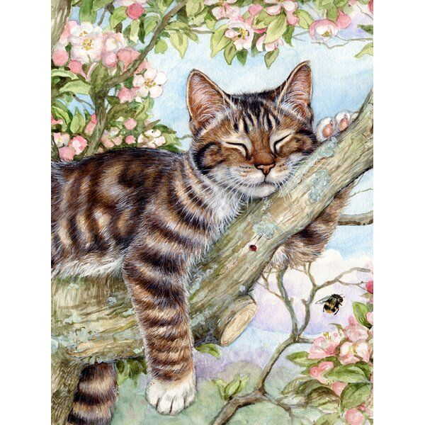 Sleepy Cat by Debbie Cook 2-sided Polyester Garden Flag