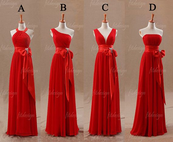 Red Bridesmaid Dress Long Chiffon By Fitdesign