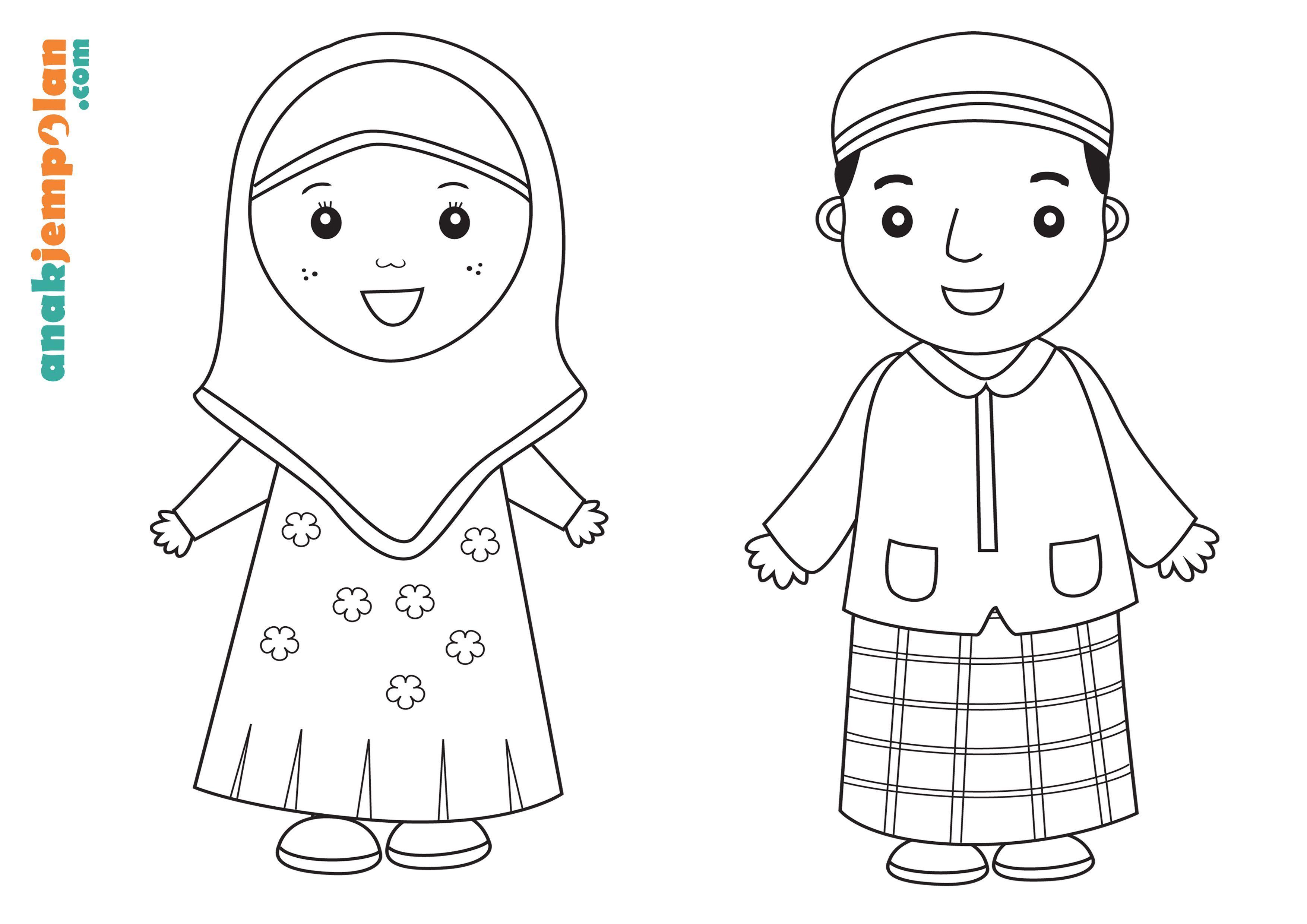 Koleksi Mewarnakan Gambar Muslim Dan Muslimah Azhan Co Mewarnai
