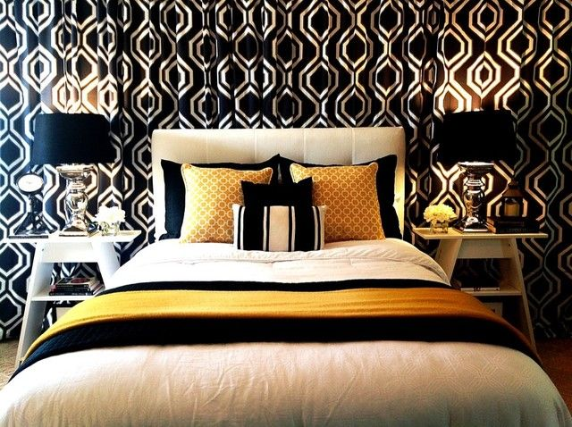 Gorgeous Black Yellow White Bedroom With Images White