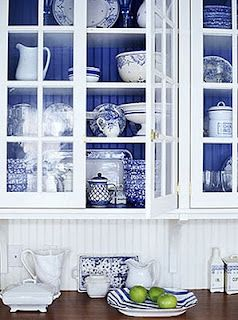 Blue And White Kitchen Or Wver Color You Want With The See Through Cabinets