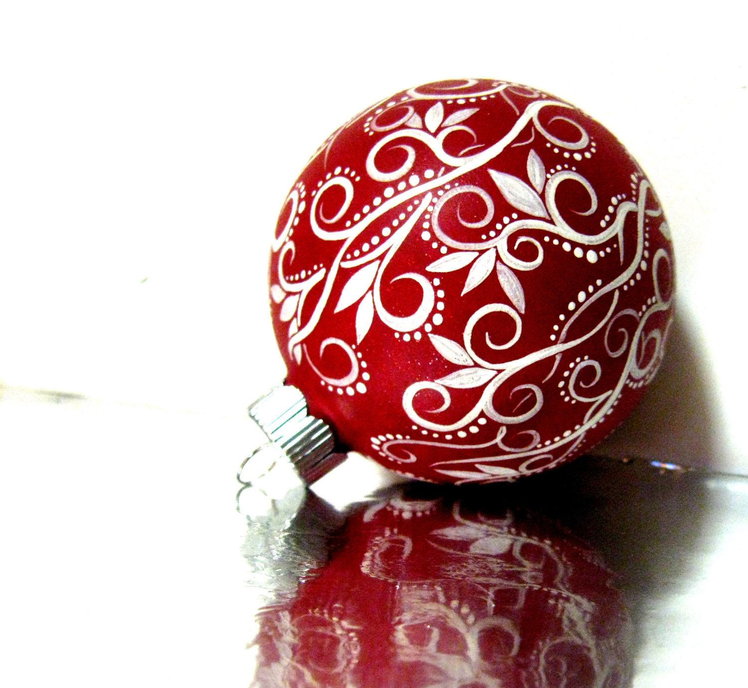 Uncategorized Christmas Ornament Painting christmas ornament red and white hand painted medium glass personalize