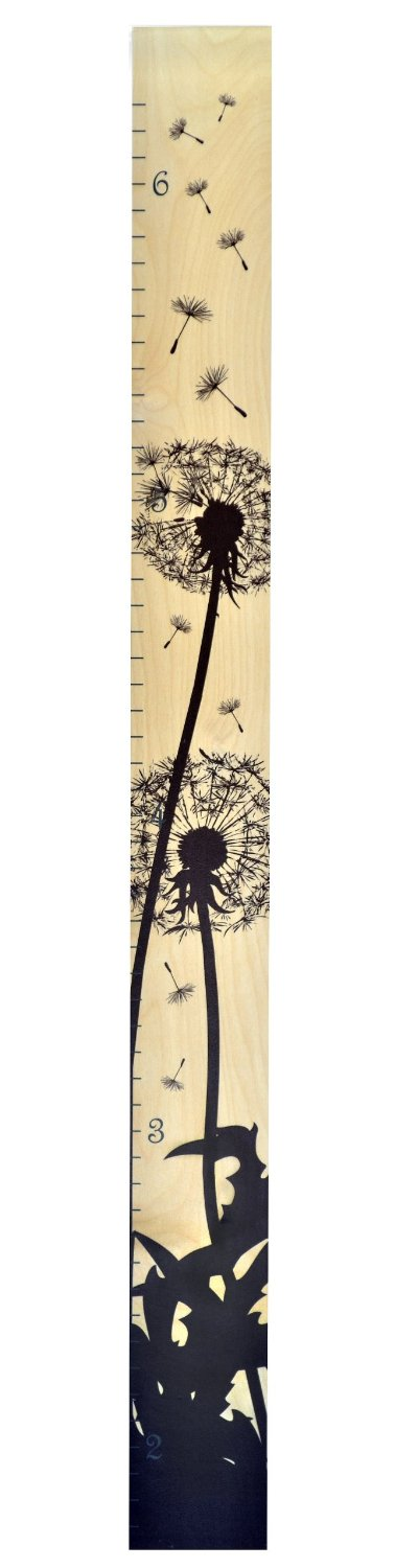 Dandelion Ruler Growth Chart - Wall Hanging Wood - girls growth chart template