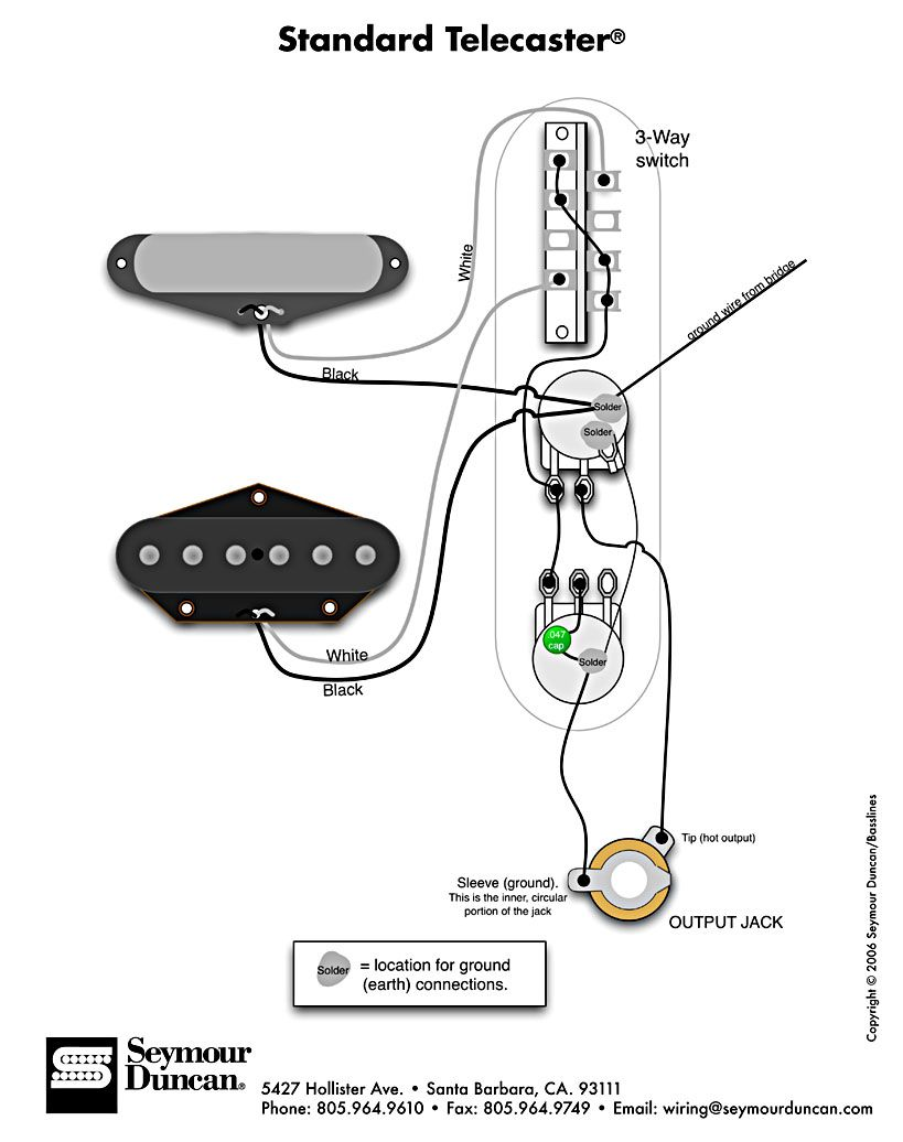 standard tele wiring diagram telecaster build pinterest Stratocaster Wiring Modifications and standard tele wiring diagram at Strat Bridge Tone Control Wiring Diagram