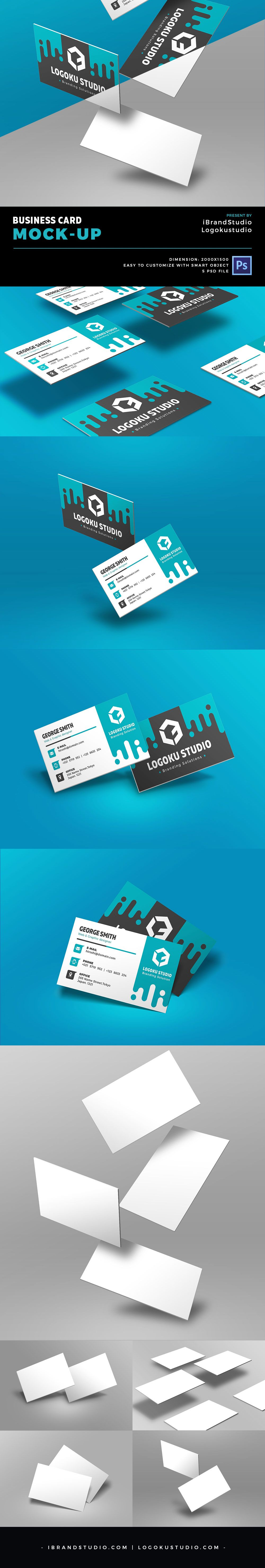 Free floating business card mockup 5 scenes psd pinterest free floating business card mockup reheart Images