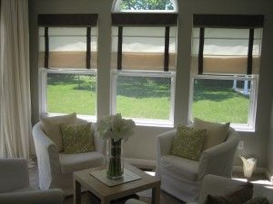 Love the roman shades in this sunroom from  HouseTweaking @H*T