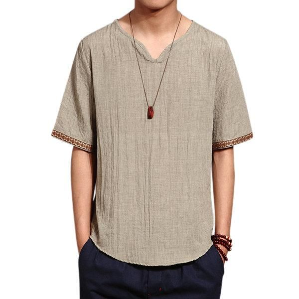 feaf4f8e338 Mens Chinese Style Summer Linen Solid Color Short Sleeve T-shirt V-neck Top  Tee
