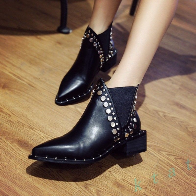 7d5cb2dc0 Womens Gothic Pointed Toe Chunky Heels Boots Rivet Chelsea Boots Oxford  Brogues Zapatos De Mujer