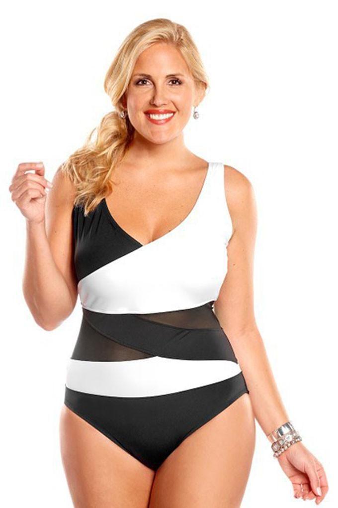 8f054c3e02000 Plus Size Swimwear Women 1 One Piece Swimsuit 2017 Solid Swimwear Large Size  Vintage Retro Swimsuit Push Up Sexy Deep V Neck