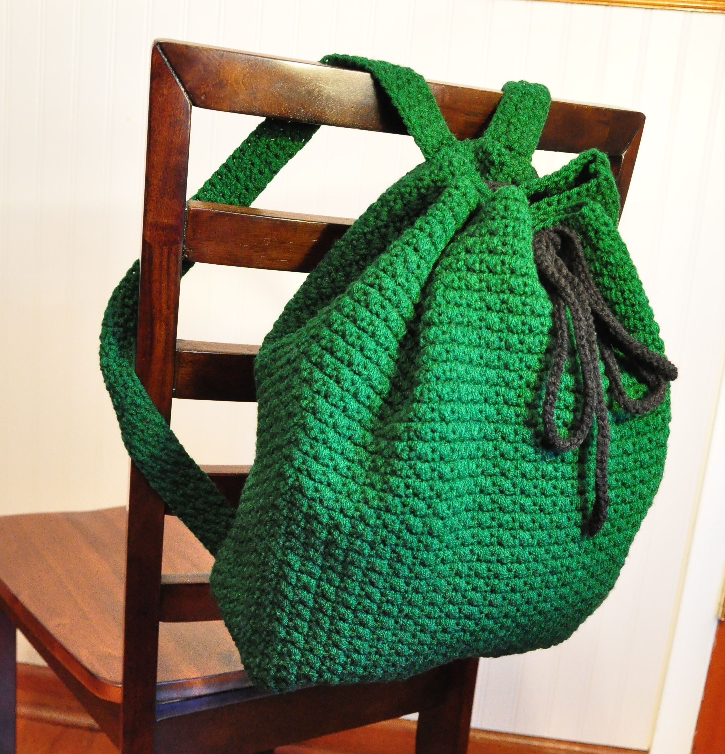 Large Crochet Backpack by La Araña Creations on Etsy. Sturdy handmade large crochet backpack that is ready to use for school and work! This item was created in a smoke-free environment. Backpack dimensions: Height: Approx 15 inches (38.1 cm) Width: Approx 15.25 inches (38.74 cm) Length of straps: Approx 18 inches (45.72 cm) each Length of drawstring: Approx 45.5 inches (115.57 cm)