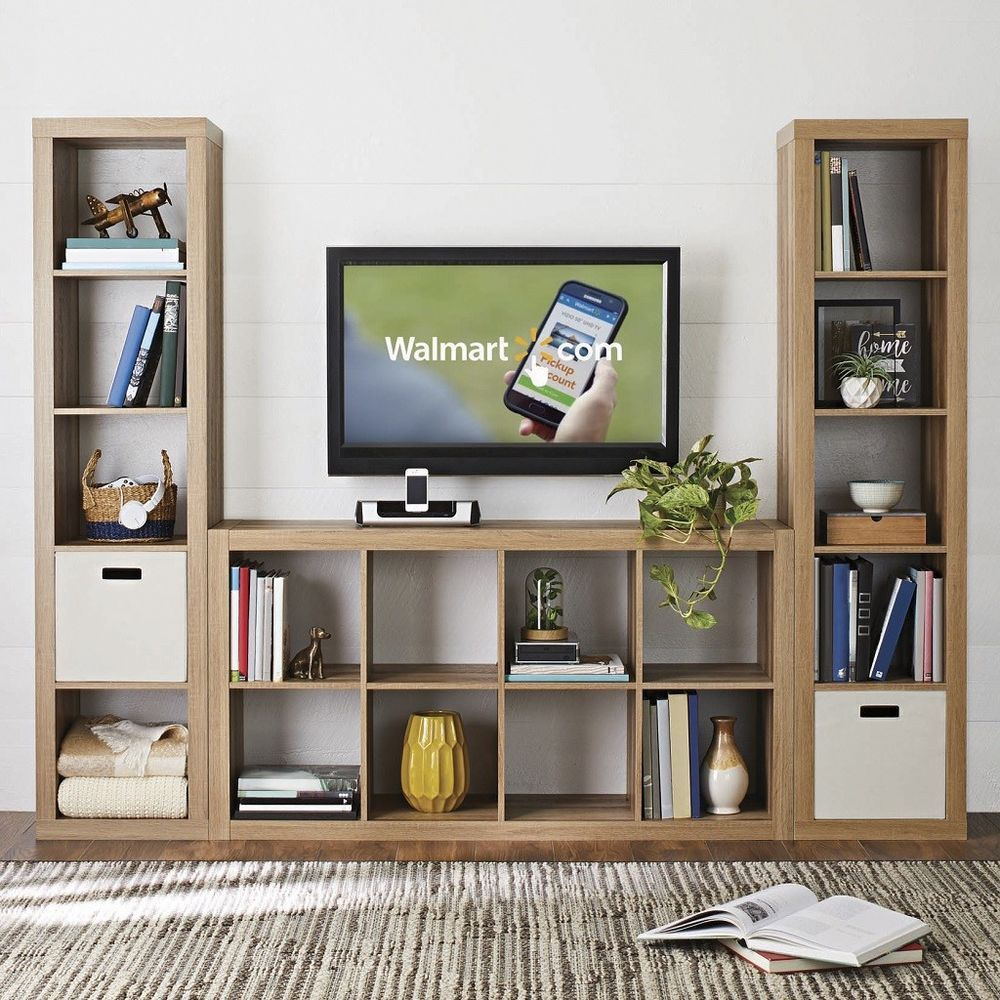 Home Office Indoor Weathered Wood 8 Cube Storage Bookcase Tv Stand Organizer Living Room Storage Cube Storage Trendy Living Rooms #storage #bin #for #living #room