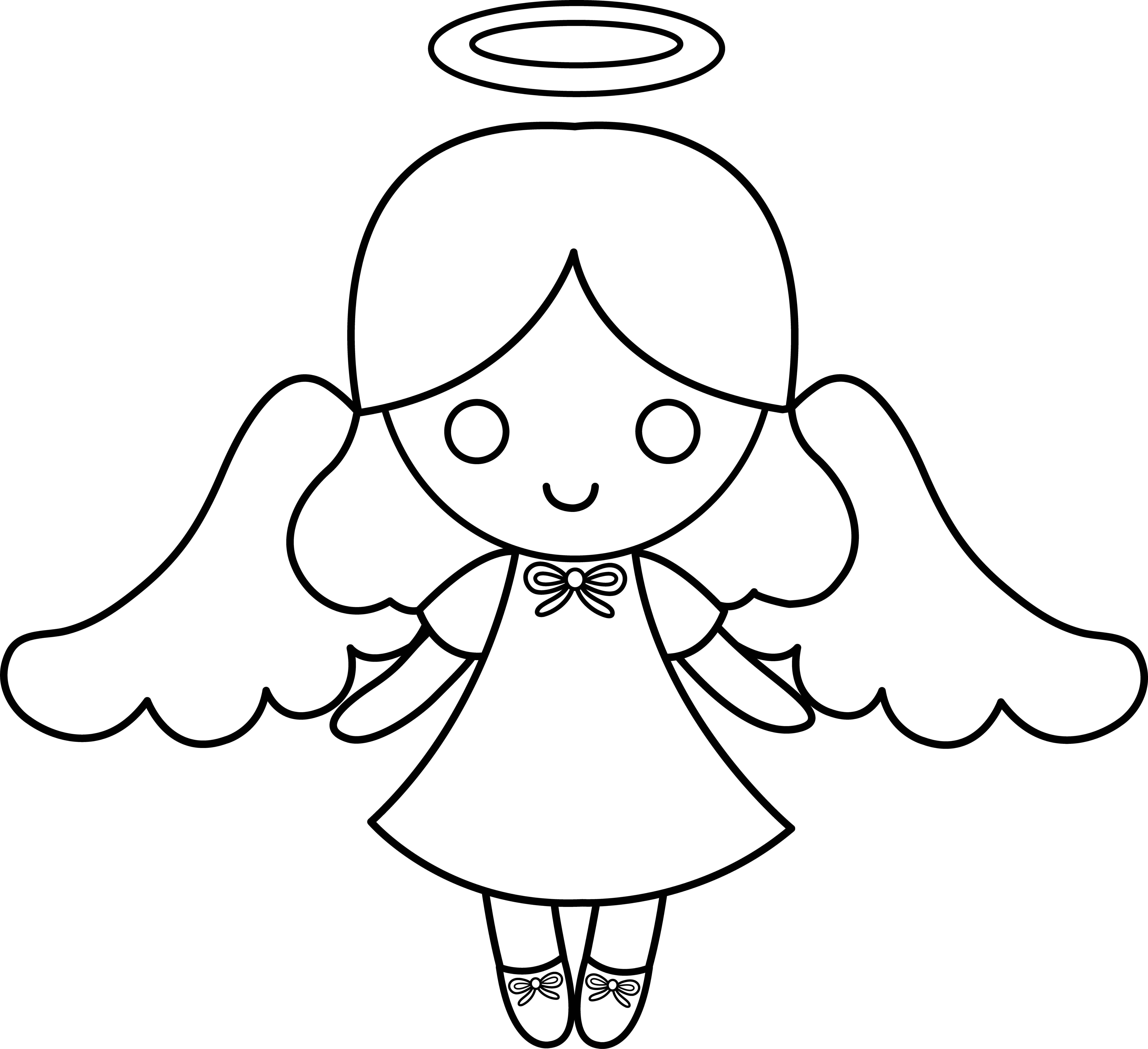 Cute Colorable Little Angel - Free Clip Art | Painting Rocks ...