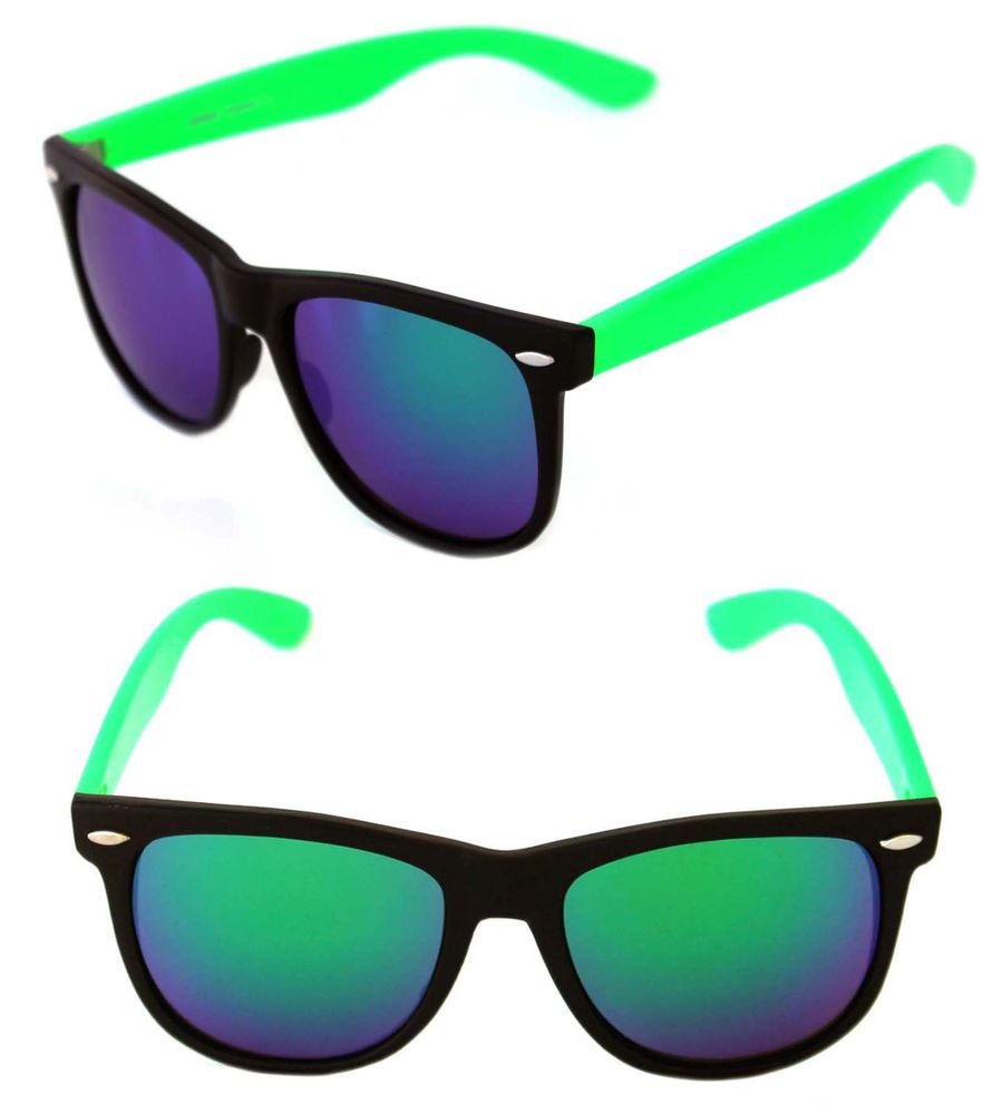 8b1ca555c666 Men s Women s Large Frame Sunglasses Horn Rimmed Retro Neon Green Black  Mirror  Unbranded  Wayfarer