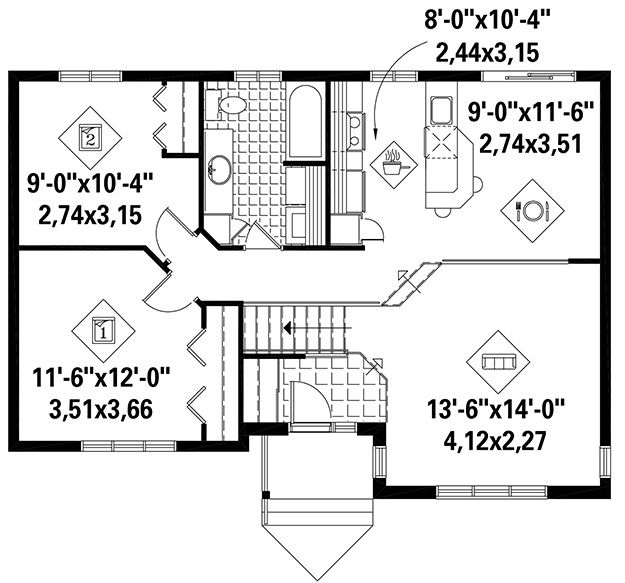 House Plan 6146 00257 Ranch Plan 950 Square Feet 2 Bedrooms 1 Bathroom House Plans Floor Plans Square Feet