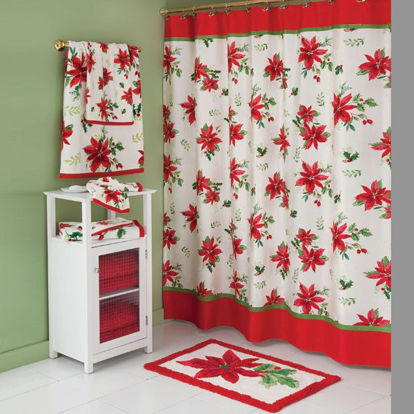 LENOX WINTER MEADOW Poinsettia Holly Floral Fabric SHOWER CURTAIN NEW