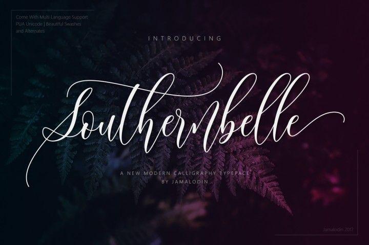Southernbelle script modern calligraphy header and fonts