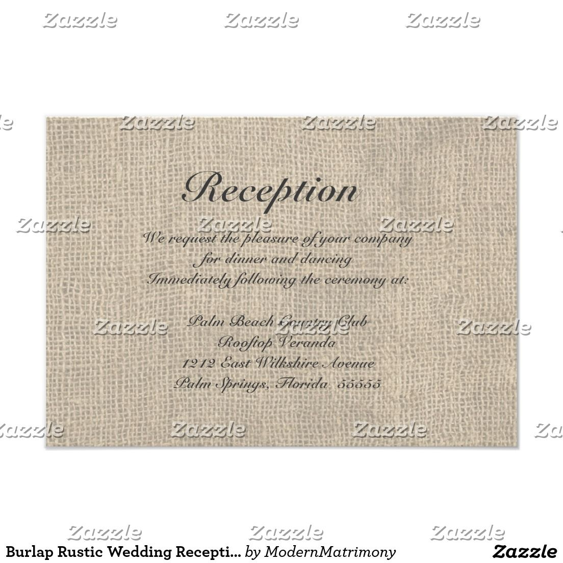 Burlap rustic wedding reception directions card perfect weddings