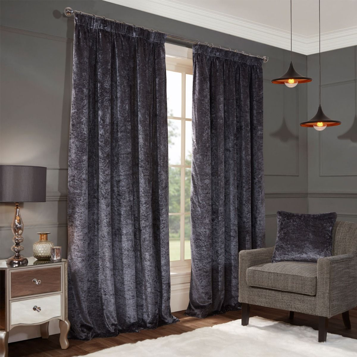 Allure Charcoal Crushed Velvet Luxury Pencil Pleat Curtains Size In 2020 Curtains Crushed Velvet Velvet Curtains Black Blackout Curtains