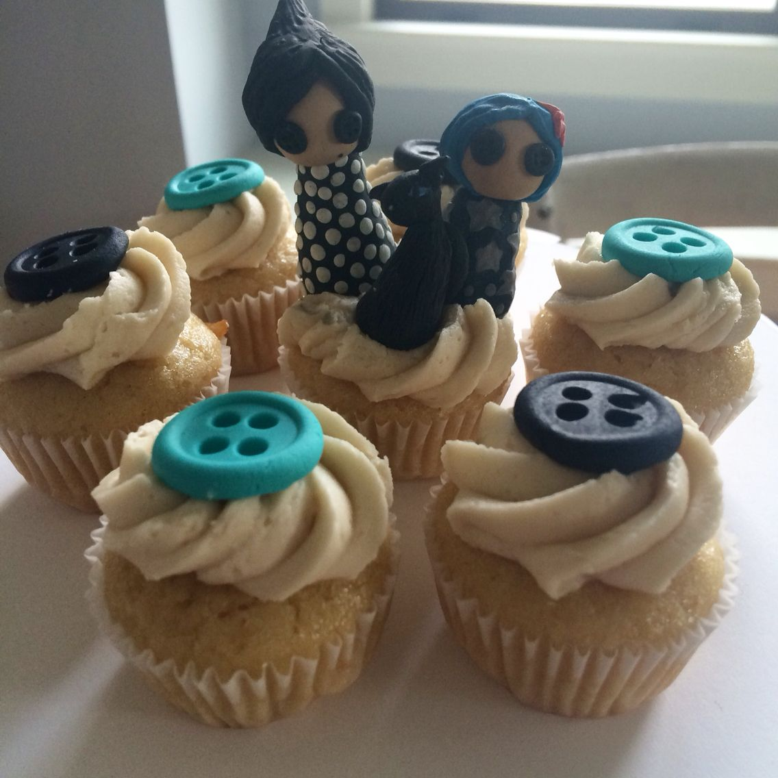 Cute As A Button Coraline Cupcakes With Topper Other Mother Coraline Cat Coraline Coraline Doll Coraline Jones