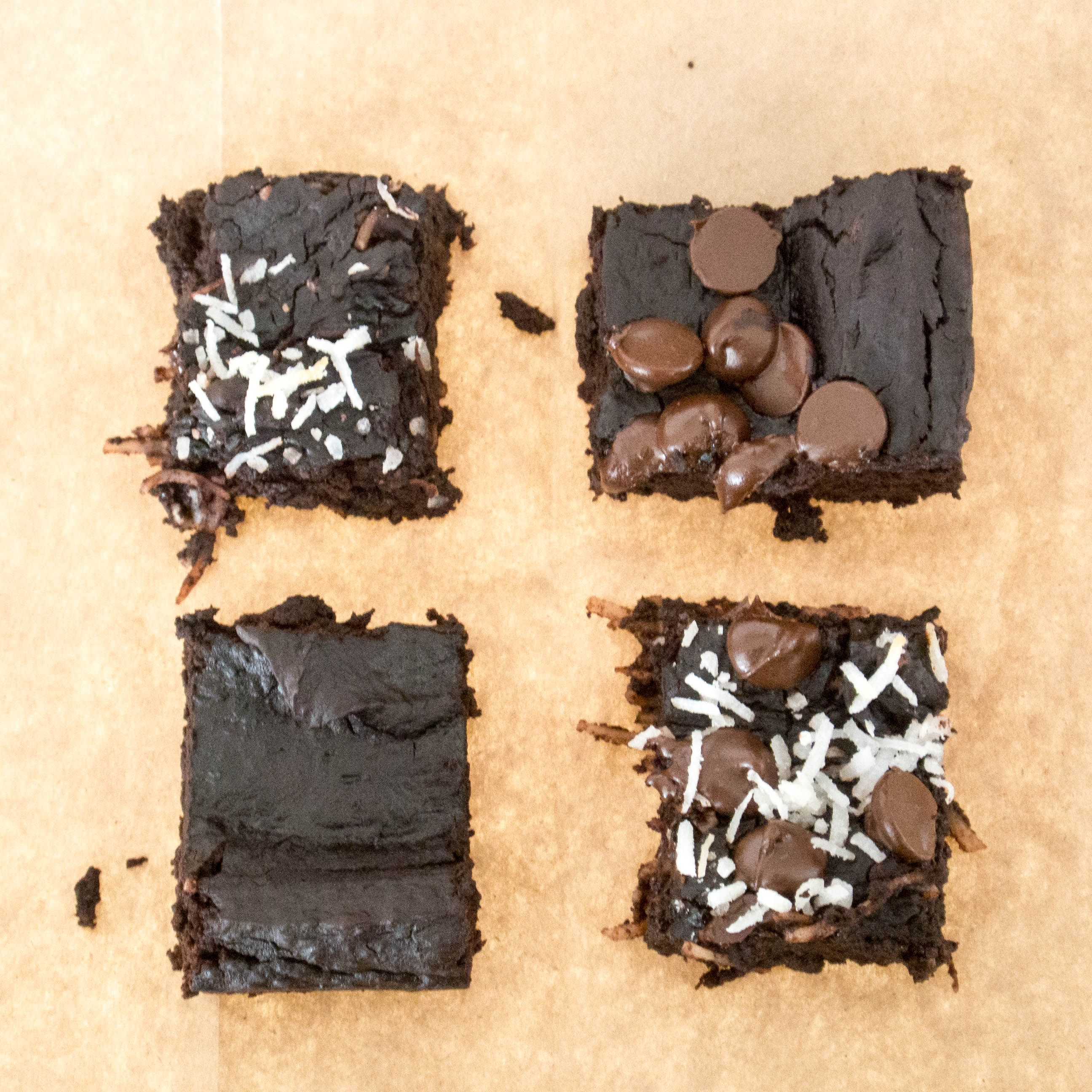 Breakfast Brownies with avocado, black beans, add gelatin in place of egg whites