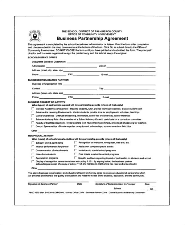 doc sample partnership agreement business letter between two - partnership agreement form