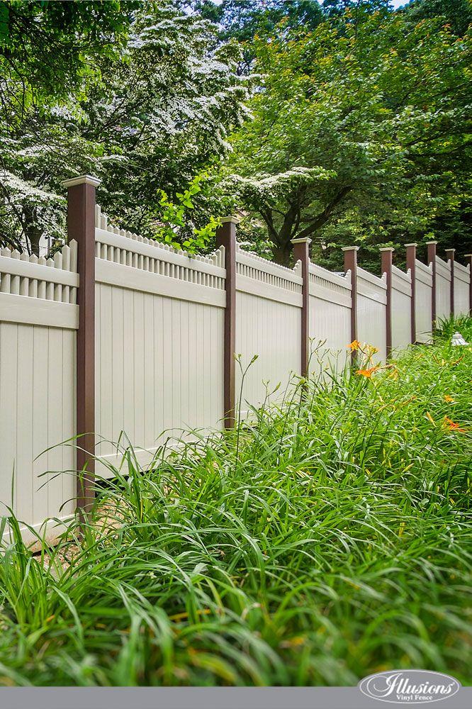 Brown Vinyl Lattice Fence Panels Wood Grain Fence Fence Design Wood Grain Vinyl Fence