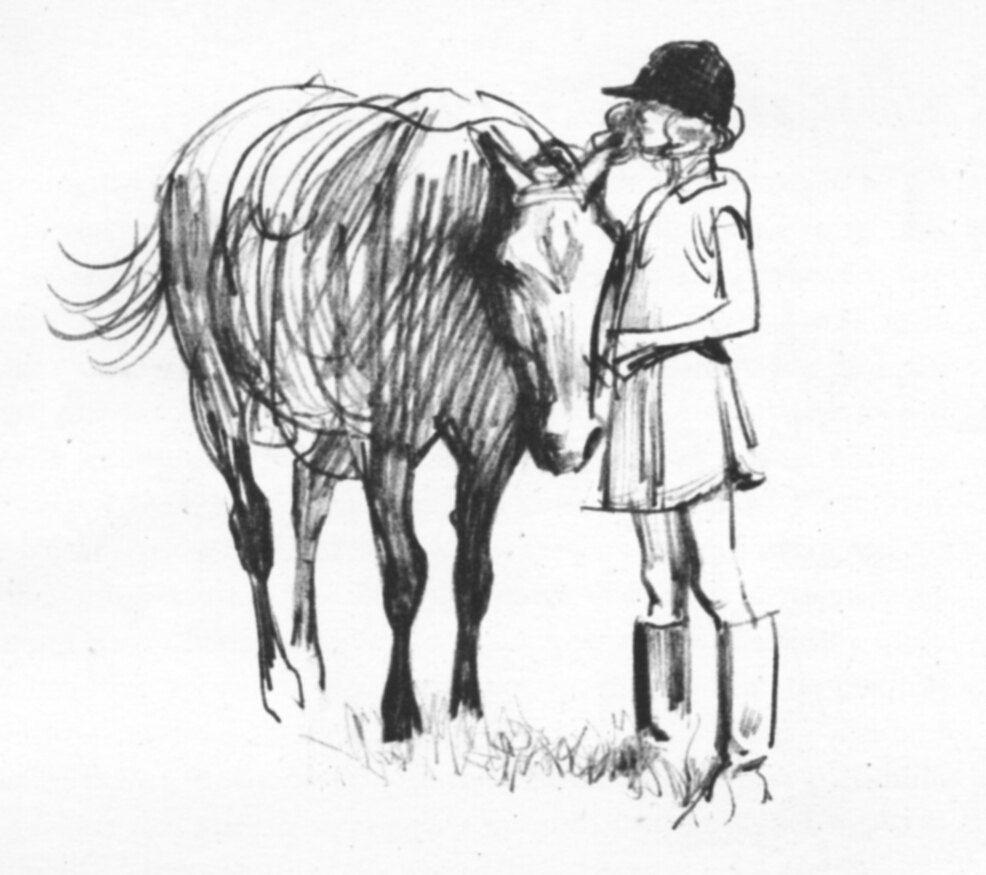 Girly vintage zimmer dekor vintage girl horse pony pencil sketch vintage childrenus