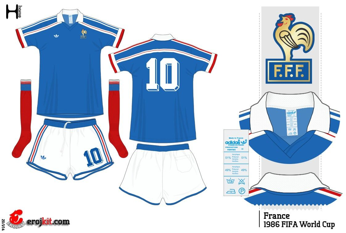 84ee7f3b3 France home kit for the 1986 World Cup Finals. Adidas Football, Football  Uniforms,