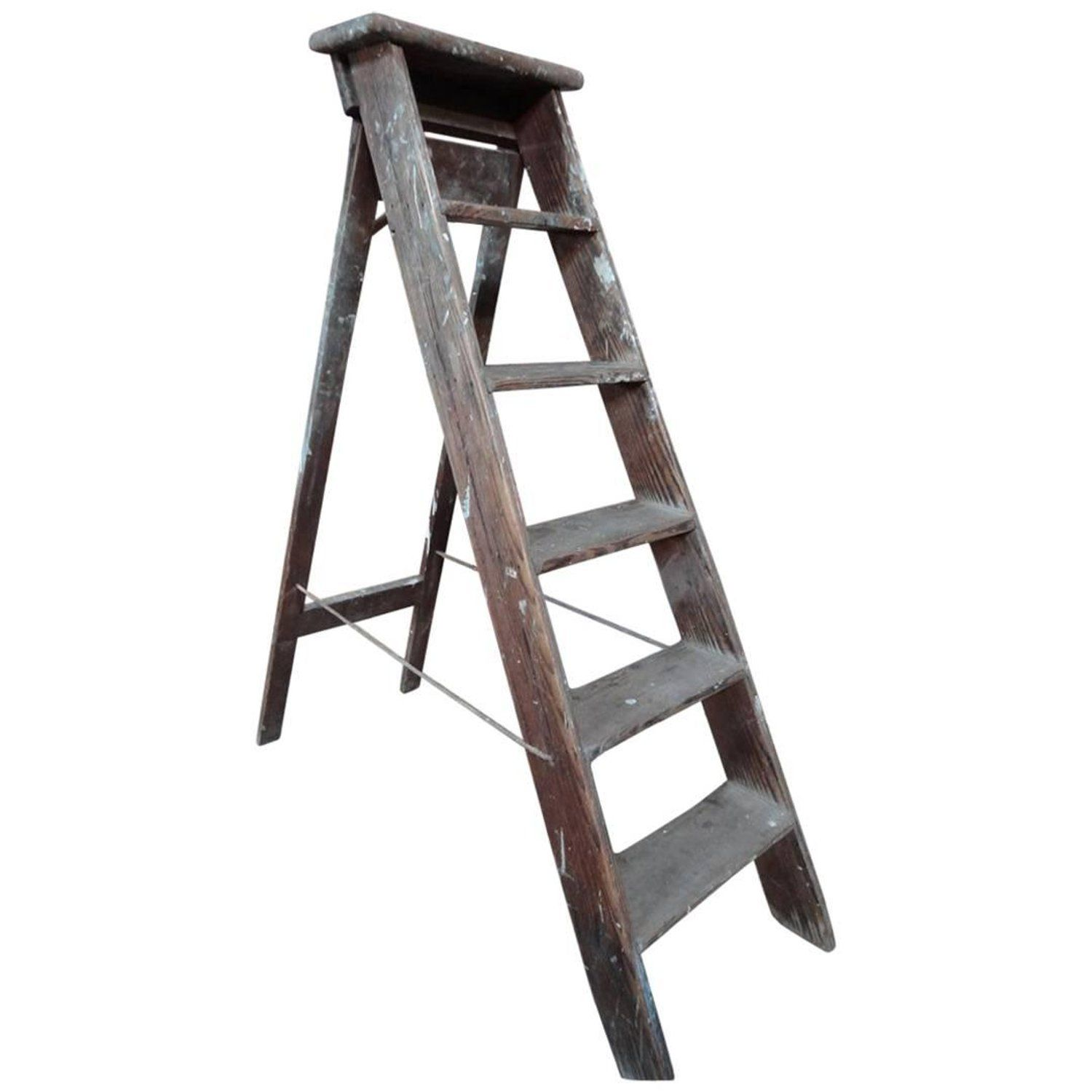 1900s French Vintage Fruit Picking Painting Ladder Library Ladder Shop Display Painting Ladders Library Ladder French Vintage