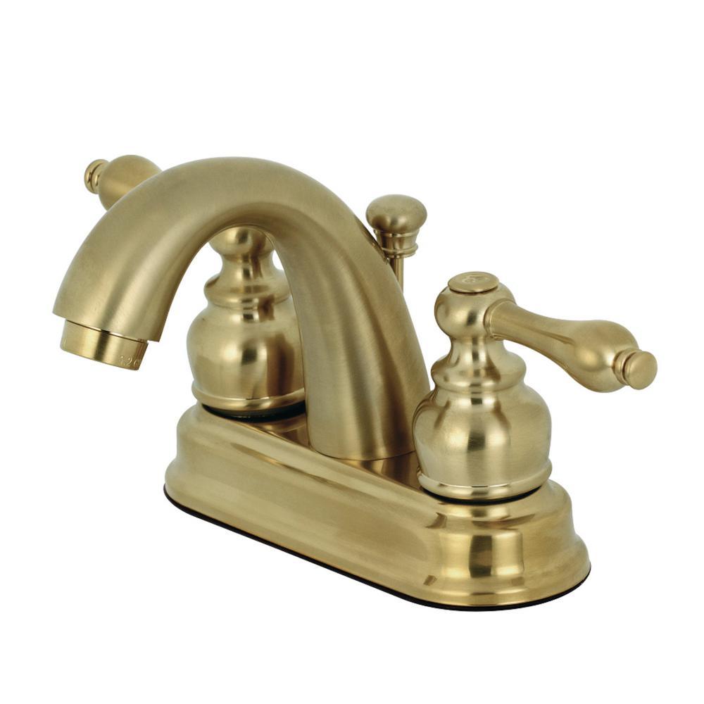 Kingston Brass 4 In Centerset 2 Handle Bathroom Faucet In Brushed Brass Kingston Brass Bathroom Faucets Satin Brass