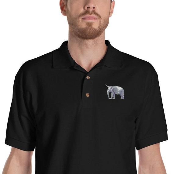 Elephant Unicorn Embroidered Polo Shirt Logo Embroidery Vintage