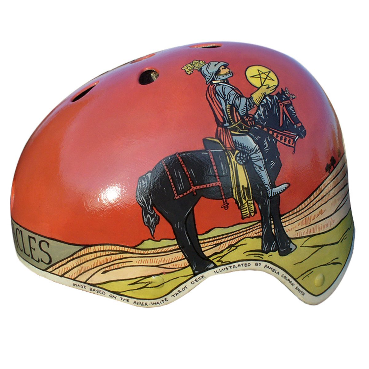 Knight of Pentacles bicycle helmet, by Danielle Baskin. awesome.