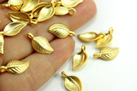 Leaf Drop Charms Gold Leaf Charms Mini Leaf Charms 8 Pc Jewelry Supplies Gold Jewelry Findings