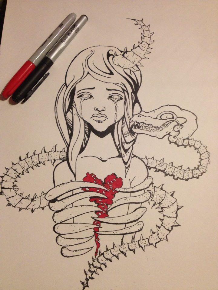 Dragon Heart By Bunnibizzare Deviantart Com On Deviantart Bones Cry Emo Goth Art