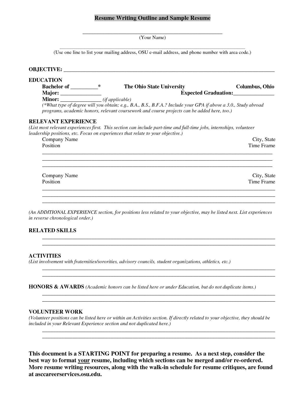 Resume Writing Outline And Sample Resume Resume Examples Writing Outline Resume