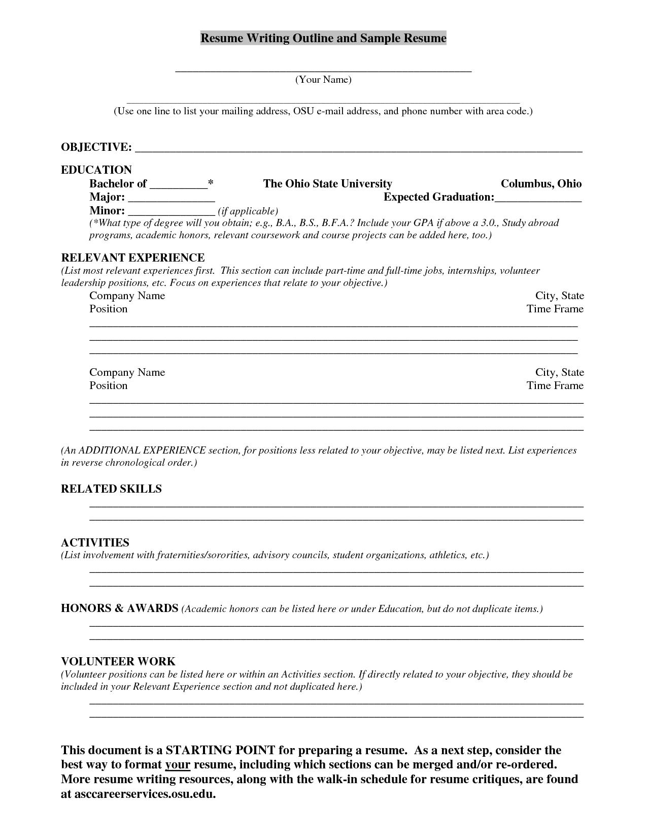 Resume Writing Outline and Sample Resume Resume writing
