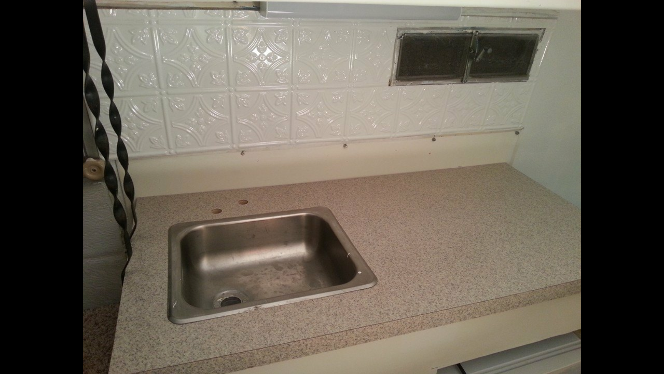 With The Scamp Camper I Got A New Backsplash That I Found On Clearance A New Countertop That I Found On Clearance At Menards But Old Sink Scamp Camper Sink