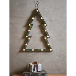 For a unique take on Christmas lighting, our tree shaped silhouette style carnival light has a distressed grey metal finish for a nod to industrial style. This light comes with seventeen warm white lights and a metal loop for hanging.