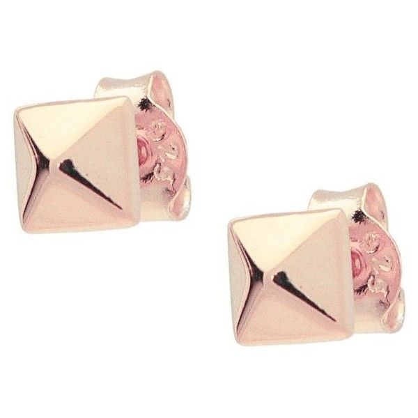 FRONAY COLLECTION ROSE GOLD POLISHED PYRAMID STUD EARRINGS (29,160 KRW) ❤ liked on Polyvore featuring jewelry, earrings, rose gold earrings, stud earrings, pink gold earrings, rose gold jewelry and rose gold stud earrings