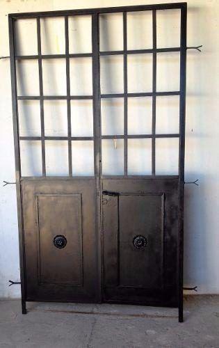 Puerta Mampara Hierro Vidrio Repartido Oro En 2019 Puertas