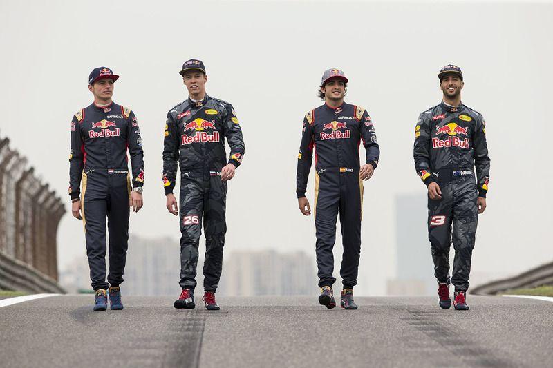 Daniel Ricciardo, Red Bull Racing, Daniil Kvyat, Red Bull Racing, Max  Verstappen, Scuderia Toro Rosso and Carlo…   Red bull racing, Max  verstappen, Daniel ricciardo