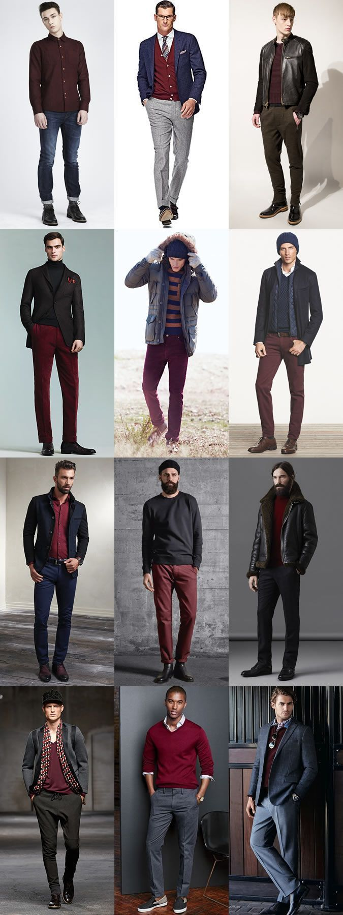 Men s Fashion Guide  2014 Autumn Winter Fall Ways To Wear Burgundy Staples  Lookbook 7ee4436f0