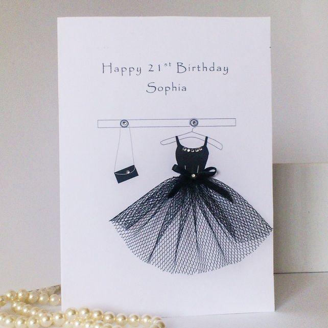 18th 21st 30th Birthday Card little black dress handmade – Handmade 30th Birthday Cards